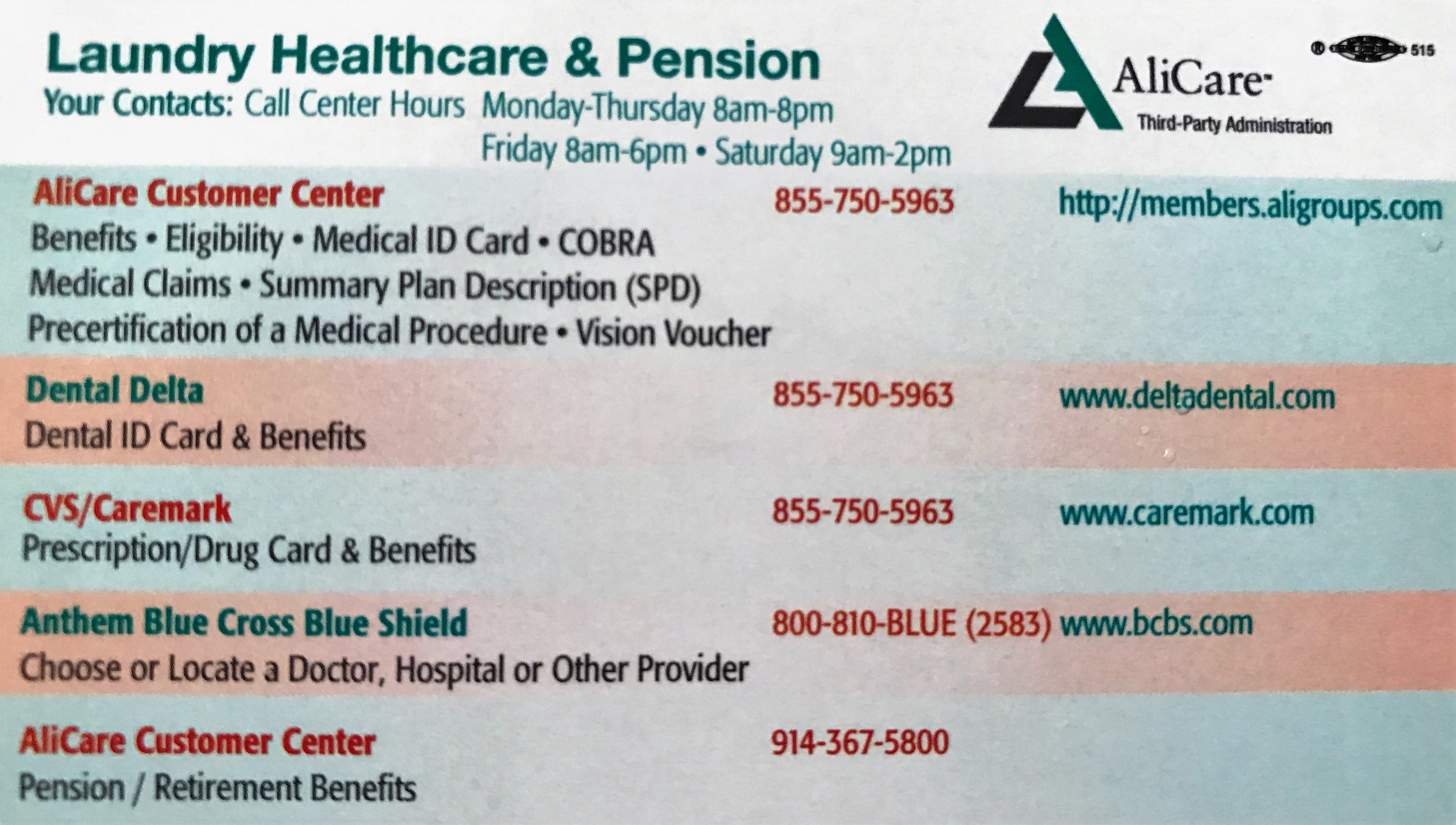 Laundry Healthcare & Pension Fund - Laundry Distribution